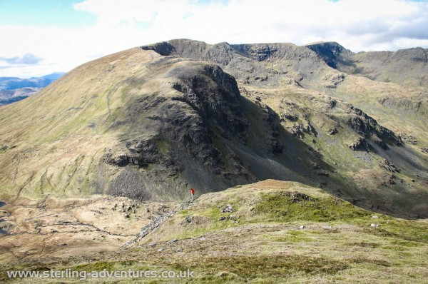 The view across to Dollywaggon Pike, Helvellyn, and the Dodds.
