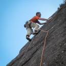 Pete nearing the top of Bloodaxe a nice confidence building E2 at Slape Crags