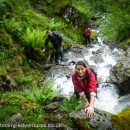 Laetitia, Chris, and Helen relishing the high water in Hoggets Gill