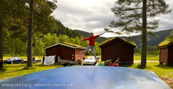 Tish on the bouncy dome at the campsite - we had to wait ages for all the children to leave before we could have a go.