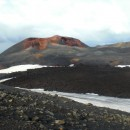 Looking across the fresh lava flow to Magni, one of the new craters on Eyjafjallajokull.