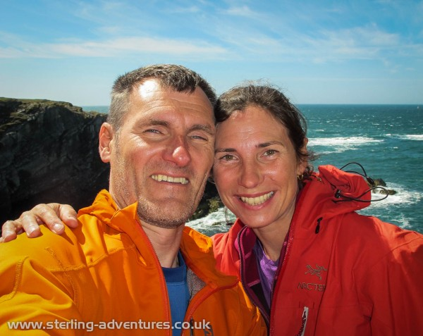 Pete and Laetitia enjoying the sun between routes at Rhoscolyn