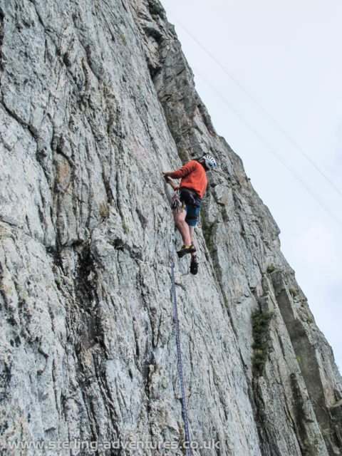 Pete setting off up 2nd pitch of Poeme a Lou, a lovely steep wall with an encouraging series of helpful holds!