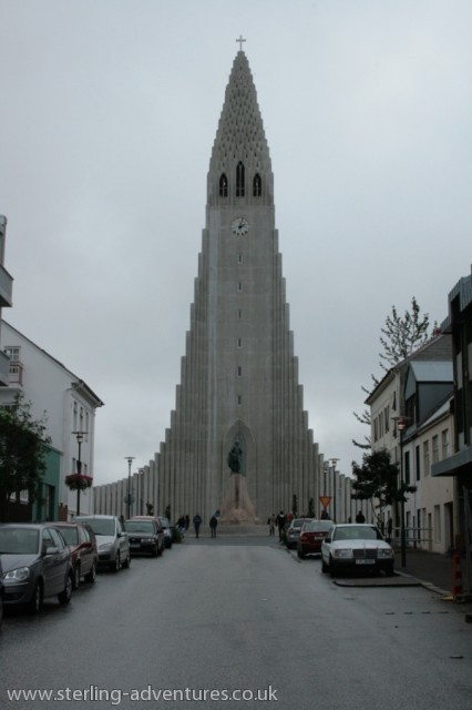 Looking up the hill to Reykjavik Cathedral.