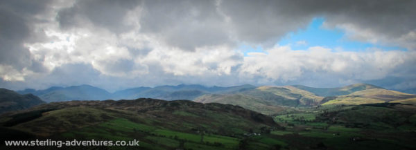The view from Little Mell Fell south-west towards the central fells
