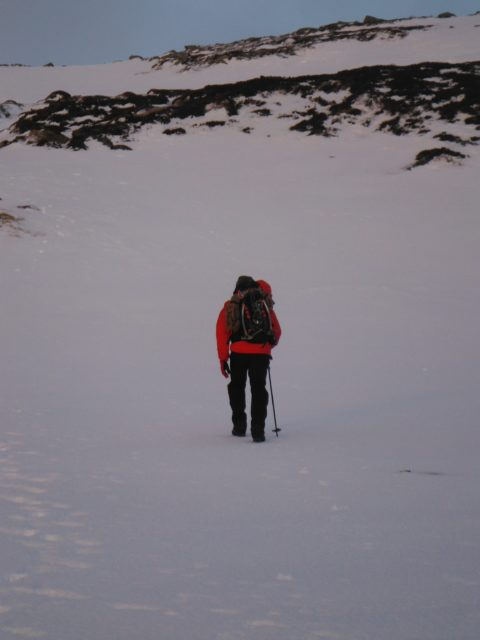 Approaching the col with Meikle pap