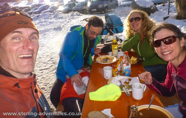 Pete, Henri, Michael, Rebecca, and Laetitia enjoying a spot of lunch after cross country skiing at Bernau