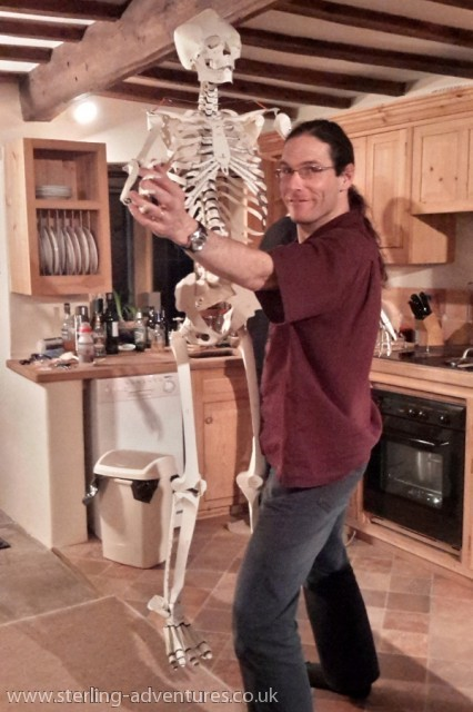 The skeleton shows off its dance moves!