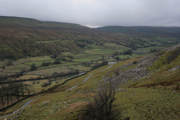 View down to Muker from the side of Black Hill
