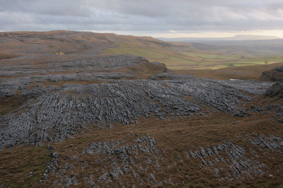 Views over the limestone pavement on the route back down