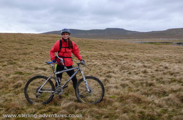 """Laetitia on the """"Allotment"""" with Ingleborough behind"""