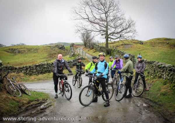 The Mountain Biking team at the end of the metalled road about to set off on one of Kentmere's best circular trails