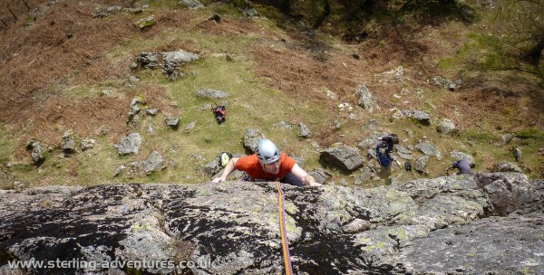 Dave following By Jingo on Raven Crag East