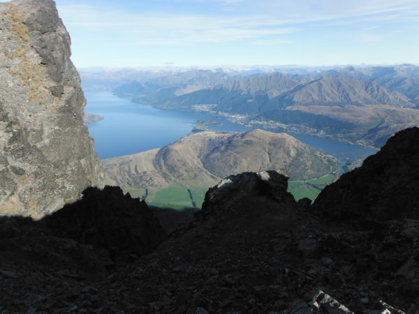 Looking down on Queenstown from above