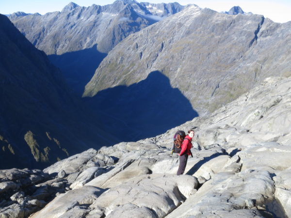 Slab-tastic, heading up the endless sea of slabs on the way to the East Ridge of Talbot (Photo Adrian Camm)