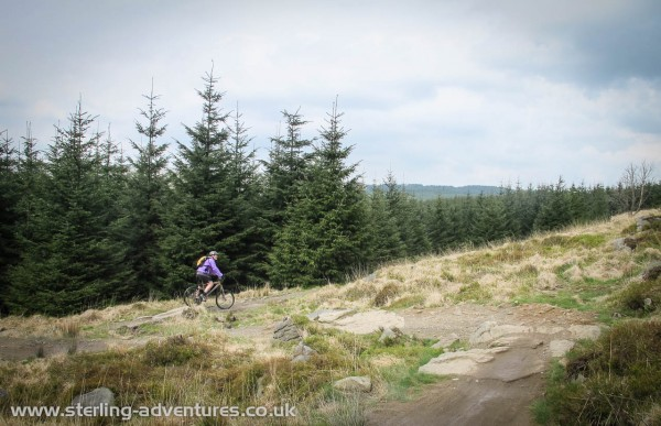 Pete riding a section of the Gisburn Forest Mountain Bike Trail in the Forest of Bowland