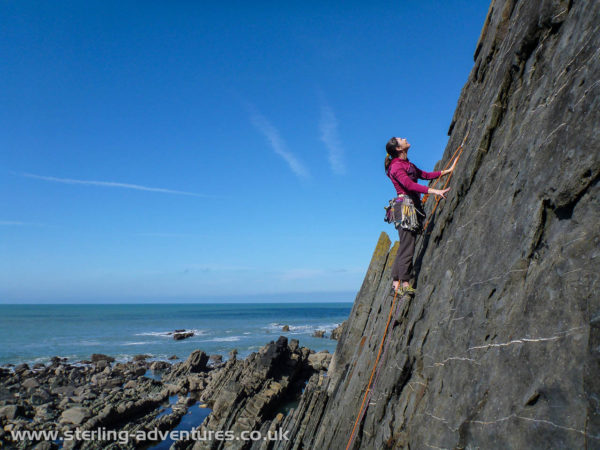 Laetitia eyeing up the line on Shivering Timbers at Gull Rock