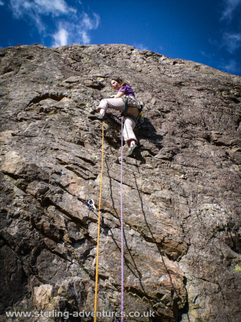 Laetitia enjoying the Easter sunshine on Ophidia, East Raven Crag, Langdale