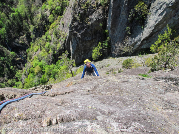 Pete following Laetitia on the beautiful slab pitches on Bravo Lapp