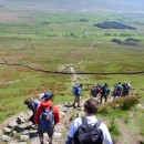 "Descending from Whernside, the highest of the Yorkshire Three Peaks.It's hard to describe just how ""made"" the route and path around the classic Yorkshire Three Peaks circuit is - but this picture illustrates it a bit.  It also shows just how busy it is!"