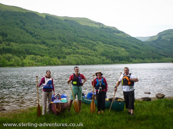 Laetitia, Pete, Lisa, and Paul ready for the off on the shores of Loch Voil