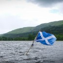 In the centre of Loch Lubnaig there's a Scottish flag marking an area of very rocky shallows