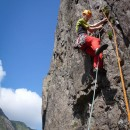 Colin on the test-piece route Wind at Clogwyn y Grochan