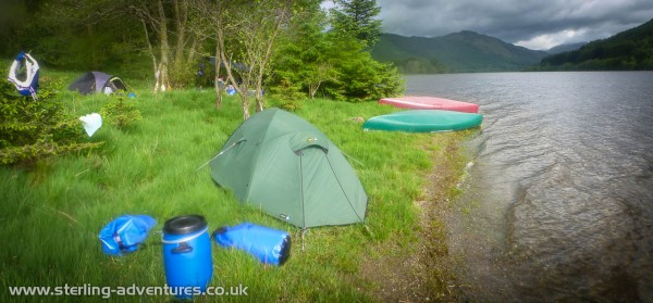 Our campsite on Loch Lubnaig - it was absolutely tipping down with rain when we got here, spirits were low, but quickly getting the tents and a tarpaulin up to cook and eat under soon brought normality and comfort to the scene