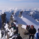 And here is the very crowded summit ridge!