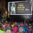 The open-air opening ceremony of the Kendal Mountain festival on Kendal's main shopping street - Strickland Gate