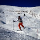 Laetitia executing a jump at Les Contamines
