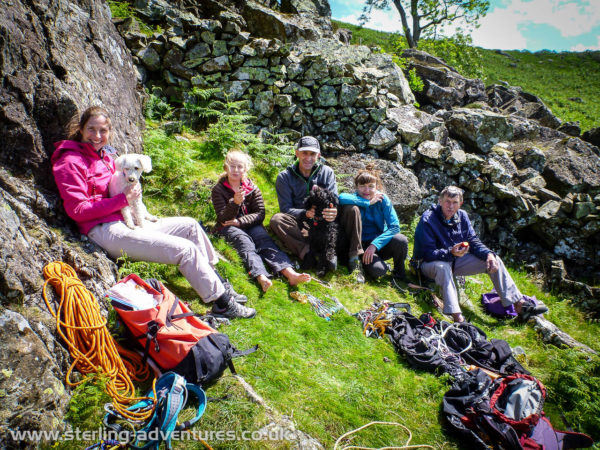 Laetitia, Zac, Emily, Dave, Widget, Kasia, and Ted at Goats Crag