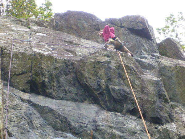 Laetitia making the traverse on Fishers Folly